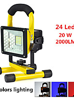 20W 24 LED Floodlight Movable Portable Rechargeable Spotlight White Red Blue Warning Light Outdoor Night Emergency/Camping Light