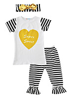 Girls' Striped Print Sets Cotton Summer Fall Short Sleeve Clothing Set 3pcs Outfits for Kids Girls Baby Toddlers