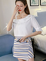 Women's Going out Casual/Daily Casual Summer T-shirt Skirt Suits,Solid Striped One Shoulder 1/2 Length Sleeve Inelastic