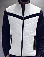 Men's Regular Padded Coat,Simple Daily Print-Cotton Others Cotton Long Sleeve