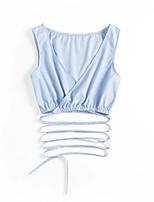 Tee-shirt Femme,Couleur Pleine Sortie Décontracté / Quotidien Sexy simple Chic de Rue Eté Sans Manches Col en V Coton Fin Moyen