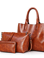 Women Bags All Seasons PU Bag Set with for Casual Black Red Beige Brown