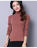 Standard Pullover Da donna-Casual Tinta unita A collo alto Manica lunga Cotone Autunno Medio spessore Media elasticità