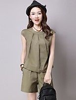 Women's Casual Simple Summer T-shirt Pant Suits,Solid Round Neck Sleeveless Micro-elastic