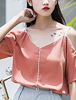 Women's Going out Casual/Daily Sexy Summer Fall Blouse,Solid Strap Short Sleeve Polyester Medium
