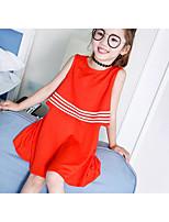 Девичий Платье Однотонный С короткими рукавами