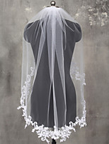 Wedding Veil One-tier Fingertip Veils Lace Applique Edge Lace Tulle
