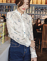 Women's Casual/Daily Simple Summer Blouse,Print Stand Long Sleeve Others