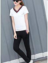 Для женщин Повседневные Лето Как у футболки Брюки Костюмы V-образный вырез,На каждый день Активный Однотонный Полоски Контрастных цветовС
