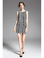 ZIYI Women's Party Holiday Going out Simple Sheath DressStriped Round Neck Above Knee Sleeveless Cotton Summer Mid Rise Inelastic Medium