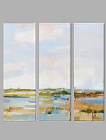 Handgemalte Landschaft Künstlerisch Abstrakt Drei Paneele Leinwand Hang-Ölgemälde For Haus Dekoration