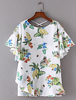 Women's Casual Simple Shirt,Solid Round Neck Short Sleeve Cotton