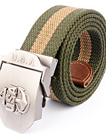 Men's Pattern Alloy Outdoor Waist Belt Casual/Business Color Block Striped Cotton Canvas Belt Black/Army Green/Khaki