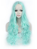 Fashion Sky Bule Color Long Wave Women Wigs Heat Resisting Cospaly Syntheitc Wigs