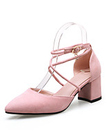 Women's Sandals Comfort Basic Pump Fashion Boots Summer Fall Fleece Casual Chunky Heel Black Light Grey Light Pink 1in-1 3/4in