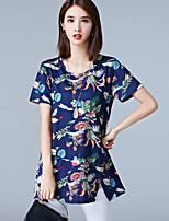 Tee-shirt Femme,Fleur Décontracté / Quotidien Grandes Tailles simple Chinoiserie Eté Manches Courtes Col Arrondi Coton Spandex