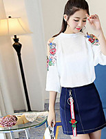 Women's Casual/Daily Modern/Comtemporary Summer T-shirt Skirt Suits,Floral Print Round Neck Sleeveless