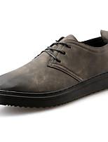 Для мужчин Кеды Удобная обувь Полиуретан Весна Осень Повседневные Шнуровка На плоской подошве Черный Серый Хаки 4,5 - 7 см