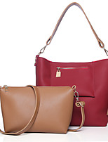 Women Bag Sets PU All Seasons Formal Casual Office & Career Shell Magnetic Brown Gray Red Black Blue