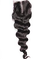 Свободная волна закрытие кружева 3.5x4inch человеческие волосы верхние закрытия средней части с детским волосом