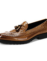 Men's Wedding Shoes Formal Shoes Cowhide Leather Spandex Fabric Spring Fall Wedding Office & Career Party & Evening Formal ShoesBrown