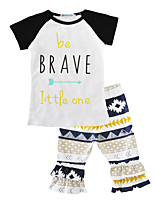 Be Brave Little One Girls' Print Geometric Sets Cotton Summer Short Sleeve Clothing Set Short Sleeve T Shirt Pants 2pcs Outfits