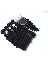 100% Unprocessed Medium Size 4Pcs 400g Brazilian Deep Wave Remy Human Hair Wefts with 1Pcs 4x4 Lace Top Closures Natural Black Human Hair Extensions
