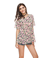 Women's Casual Cute T-shirt,Floral Round Neck Short Sleeve Chiffon