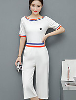Women's Casual Casual Summer T-shirt Pant Suits,Solid Round Neck Short Sleeve