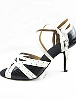 Women's Latin Faux Leather Sandals Performance Splicing Stiletto Heel Black/White 3