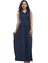 Women's Plus Size Casual/Daily Street chic Sheath Swing Dress,Solid V Neck Maxi Sleeveless Cotton Polyester Summer Mid Rise Stretchy Thin