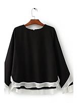 Для женщин Праздники На выход На каждый день Лето Осень Блуза Круглый вырез,Простое Очаровательный Уличный стиль Контрастных цветов