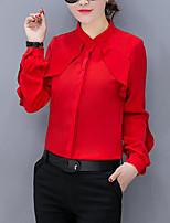 Для женщин Для вечеринок На каждый день Офис Большие размеры Лето Рубашка Вырез под горло,Простое Уличный стиль Изысканный Однотонный