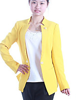Women's Casual/Daily Simple Spring Blazer,Solid V Neck Long Sleeve Regular Polyester