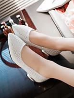 Mujer Zapatos Cuero Nobuck PU Verano Confort Tacones Para Casual Blanco Azul