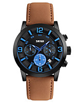 SKMEI Hombre Reloj Deportivo Reloj de Pulsera Japonés Cuarzo Calendario Resistente al Agua Cronómetro Silicona Banda Cool Negro Marrón