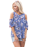 Women's Party/ Evening Daily Cute Summer Blouse,Floral Round Neck Short Sleeve Polyester Spandex Medium