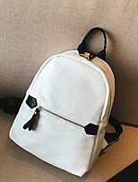 Women Backpack PU All Seasons Casual Round Zipper Black White