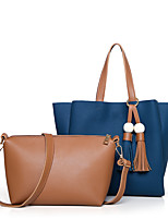 Women Bag Sets PU All Seasons Sports Casual Office & Career Barrel Magnetic Brown Gray Red Black Blue