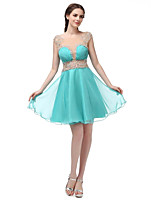 Princess Bateau Neck Short / Mini Chiffon Cocktail Party Homecoming Dress with Beading Draping