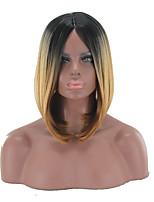 Raie Centrale Perruques naturelles Synthétique Sans bonnet Perruques Moyen Blond Cheveux