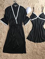 Satin & Soie Costumes Vêtement de nuit Femme,Sexy Rétro Solide