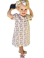Girl's Animal Print Dress Cotton Summer Short Sleeve Bunny Rabbit Kids Girls Clothes