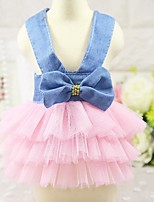 Cat Dog Tuxedo Dress Dog Clothes Party Casual/Daily Cowboy Wedding Princess Blushing Pink White