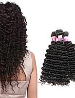 Натуральные волосы Перуанские волосы Человека ткет Волосы Глубокие волны Вьющиеся волосы Наращивание волос 3 предмета Черный