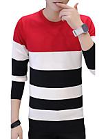 Standard Pullover Da uomo-Casual Ufficio A strisce Rotonda Manica lunga Cotone Autunno Inverno Medio spessore Media elasticità