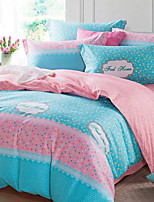 Floral 4 Piece Cotton Cotton 1pc Duvet Cover 2pcs Shams 1pc Flat Sheet
