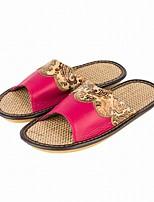 Damen Slippers & Flip-Flops Komfort Leder Herbst Winter Normal Komfort Kombination Flacher Absatz Purpur Fuchsia Rot Burgund Flach