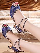 Для женщин Танцевальные кроссовки Полиуретан Сандалии Кроссовки Для открытой площадки На толстом каблуке Красный Синий 5 - 6,8 см