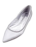 Femme Chaussures de mariage Ballerine Confort Satin Printemps Eté Mariage Soirée & Evénement Habillé Strass Chaîne Talon PlatViolet Rouge